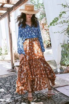 "Boho Maxi Ruffle Skirt ""Gypsy Dancer"" Maple With Ivory Flowers Plus Size 2X or XXL Long Skirt"