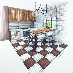Interior Architecture Drawing, Interior Design Renderings, Plans Architecture, Architecture Concept Drawings, Interior Design Courses, Drawing Interior, Interior Rendering, Interior Sketch, Home Interior Design
