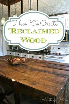 How To Create Faux Reclaimed Wood Barn Boards....shows how to make the massive kitchen island when working with a limited budget
