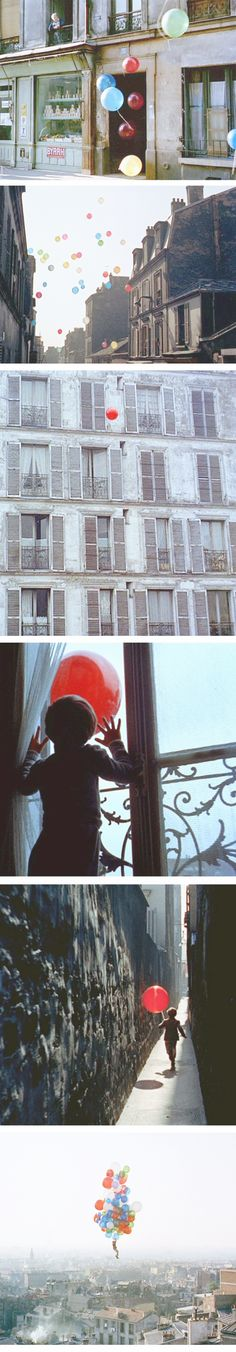 Pascal Lamorisse in fantasy short film The Red Balloon (1956, dir. Albert Lamorisse)