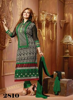 Fabboom Mind Blowing Black and Green Designer Salwar Kameez - BOTTOM FABRIC: Cotton CELEBRITY: Ayesha Takia DUPATTA FABRIC: Nazneen STYLE: Salwar suit FABRIC: Cotton WORK: Embroidery COLOUR: Green, Black OCCASION: Party, Festival, Reception CATALOG NO.: FBA174  fabboom whatsapp no. 9723880999