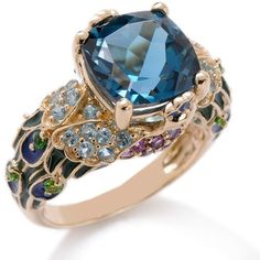 "victoria wieck peacock ring | Victoria Wieck 5.05ct London Blue Topaz and Gemstone ""Peacock"" 14K ..."