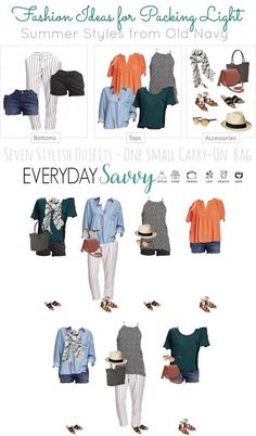 Summer Travel Capsule Wardrobe – Travel Light – Everyday Savvy Check out this fun summer travel capsule wardrobe that you can use to travel light. All the pieces will fit in a small carry-on bag. Packing Light Summer, Travel Outfit Summer, Summer Travel, Summer Outfits, Travel Outfits, Travel Clothes Summer, Travel Wardrobe, Summer Wardrobe, Plus Size Capsule Wardrobe