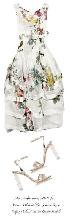 Vivienne Westwood Floral Party Dress and Gianvito Rossi Perspex Heeled Metallic Leather Sandals