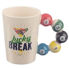 Collectable Pool Balls Shaped Handle Ceramic Mug Our shaped handle mugs are novel and come in a great range of themes and designs. Made from ceramics they will definitely be a talking point at the dinner table or in the office canteen. Office Canteen, Novelty Mugs, Cool Mugs, I Love Coffee, Diy Desk, Pool Designs, Decorative Boxes, Handle, Shapes