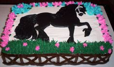 Black Stallion birthday cake - I made this cake for my daughter who is turning 8. She is in riding lessons and loves horses. For her birthday they are going horse back riding. The cake is a 1/4 sheet filled with bavarian cream. Iced with extra special buttercream. The horse is a royal icing transfer.
