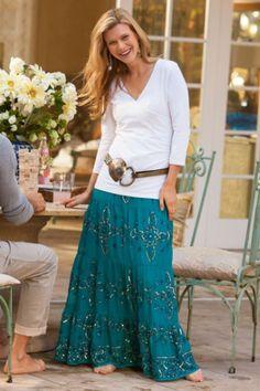 Regale Skirt - Long Chiffon Skirt, Embroidered Skirt, Sequin Skirt   Soft Surroundings