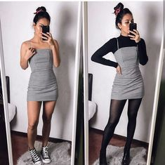 Black Striped Dress - Outfits for Work - Winter Outfits for Work Winter Fashion Outfits, Fall Winter Outfits, 90s Fashion, Look Fashion, Fashion Clothes, Summer Outfits, Autumn Fashion, Dresses In Winter, Fall Skirt Outfits
