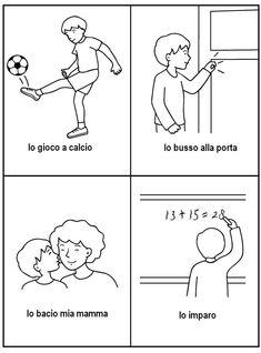 Sequenze di azioni quotidiane Learning Cards, Learning Italian, Pixel Art, Language, Education, Speech Language Therapy, Learn Italian Language, Languages