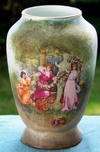 Royal Bayreuth Scenic Tapestry Vase with 3 Ladies from Cousins Antiques on Ruby Lane