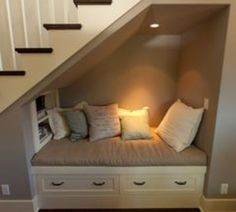 Under-the-staircase reading nook!