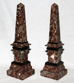 "Pair of French Marble Obelisks, 19th C. - Dim: H 16 3/4"", W 4 1/2"" - Rouge marble with black marble layers."