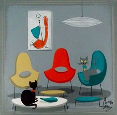 Mid Century Modern Art, Mid Century Art, Mid Century Design, Retro Art, Vintage Art, Black Cat Art, Black Cats, Gatos Cats, Space Cat