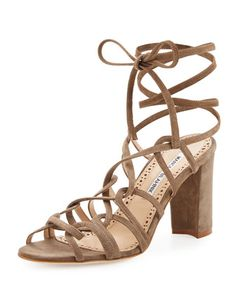 """#ONLYATNM Only Here. Only Ours. Exclusively for You. Manolo Blahnik suede sandal. 3.5"""" covered block heel. Open toe. Caged, lace-up vamp. Smooth outsole. """"Jena"""" is made in Italy."""