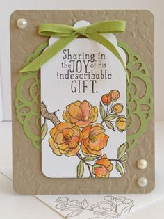 Stampin' Up! ... hand crafted Easter card ... luv all of the texture and contrast between pearls and embossed kraft ... like the layered label with green die cut doily ...
