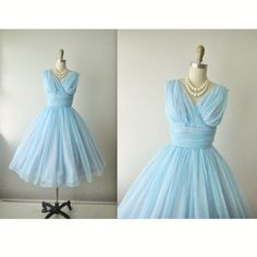 50's Prom Dress // Vintage 1950's Ruched Blue by TheVintageStudio, $168.00