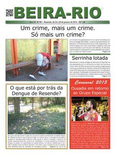 Capa do impresso do Jornal BEIRA-RIO de Resende, com a foto de Zé Paulo (de Felipe Araújo) na manchete sobre a matéria da Viradouro no Carnaval de 2015.