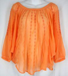 LC LAUREN CONRAD Top XS Orange Embroidered Chiffon Dolman Solid Polyester  $28.88 #LCLaurenConrad #KnitTop