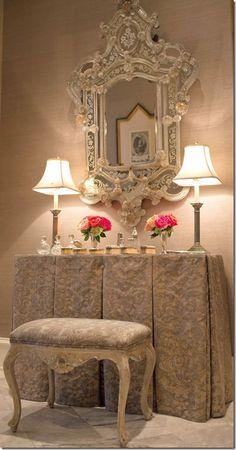 gorgeous mirror & table
