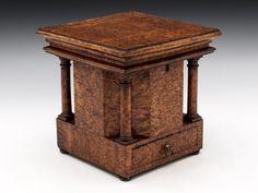 ARCHITECTURAL TEA CADDY c. 1760 //  Fabulous Architectural Tea Caddy veneered with stunning unusual Kerelian Birch, having superb colour and patination. This eye-catching piece has lovely turned doric columns to each corner and has a spoon drawer with brass pull. It stands on four bun feet and still retains all of its original lining.   This tea Caddy comes with a working lock and tasselled key.  // Price 2,750 GBP  //  - Maria Elena Garcia -  ► www.pinterest.com/megardel/ ◀︎