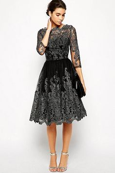 Little Black Dress Vintage Lace Party Dress Women Bateau Neckline Fit Flare Midi Dress Lace Dresses, Pretty Dresses, Prom Dresses, Short Dresses, Formal Dresses, Dress Prom, Dress Lace, Lounge Dresses, Dress Vestidos