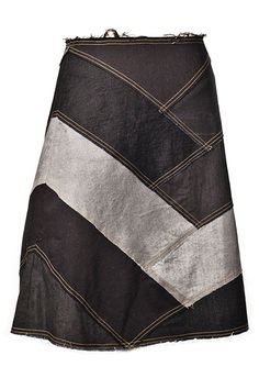 You could do this by using a basic skirt pattern and laying your fabric pieces on the pattern until you got an arrangement you liked.