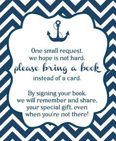 Nautical Navy Chevron Bring a Book Insert