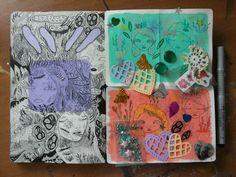 art-creature:  moleskine + some doodles for art swaps!