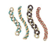 Seaman Schepps link bracelets in gold, turquoise, wood, and coral