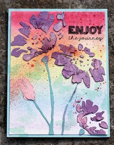 The Mixed Media Card Challenge #26 – August – Rainbow | honeybeelane Stamplorations daisy stencil