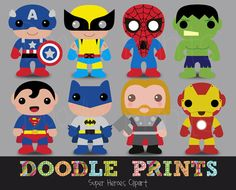 Digital Clip Art Printable - Super Heroes Clipart Design - Super Heroes Scrapbook - Personal Use Only