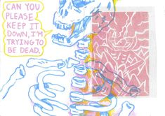 Sketchbook page ft. a skeleton and a pink test print for a larger Halloween linocut print for class !