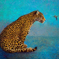 By Iris Scott | Oil on canvas | finger paintings | originals and prints | www.IrisScottFineArt.com | A tiny hummingbird comes into contact with a spotted leopard. A surreal meeting between two beautiful creatures in the animal kingdom.