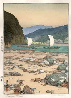 Tenryu River by Toshi Yoshida, 1942 Japan. I love the style of this painting. The rocks draw you in to see the boats.