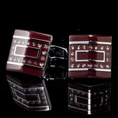 AS THE PICTURE Pair of Gorgeous Smooth Surface Rhinestone Square Cufflinks For Men Cuff Links Rhinestone