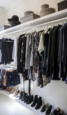 I like the shelf at the bottom for shoes, and the small section that has 2 stacked hanging rods for skirts and short stuff Wardrobe Room, Build A Wardrobe, Walk In Wardrobe, Ideas De Closets, Small Closets, Master Bedroom Closet, Home Bedroom, Diy Dressing, Wardrobe Organisation
