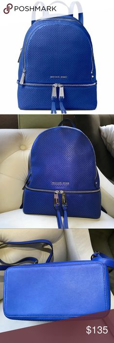 """Michael Kors Electric Blue Rhea Backpack Beautiful blue leather medium Michael Kors travel backpack. Sliver hardware.Michael Kors logo on front and all the zipper pulls. 2 Zipper closure at top.one zipper compartment at bottom. 3 slip pockets. One zip pocket .interior key fob. Adjustable straps. 10.5 width 13"""" height. Please see pictures. New no Tags . Does not come with dust bag.Excellent condition NWOT Michael Kors Bags Backpacks"""