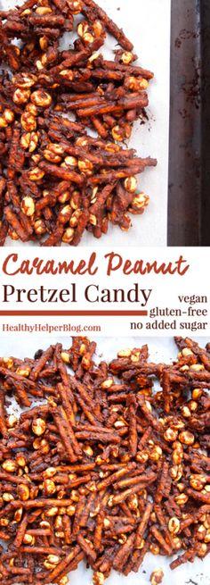 Caramel Peanut Pretzel Candy [vegan + gluten-free + no added sugar] from HealthyHelperBlog.com
