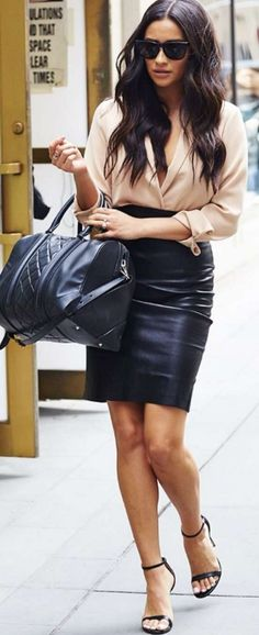 Shay Mitchell: Purse – Givenchy  Shirt – Piece Official  Skirt – ThePerfext  Shoes – Steve Madden