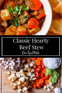 The ultimate meat and potato dish, this Hearty Beef Stew recipe is full of tender beef, fluffy potatoes, in a rich flavorful gravy. Best Soup Recipes, Chowder Recipes, Chili Recipes, Fall Recipes, Dinner Recipes, Healthy Recipes, Making Beef Stew, Easy Beef Stew, Recipe Inspiration