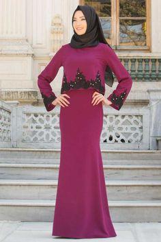 NEVA STYLE - Neva Style - Kolları Dantel Detaylı Mürdüm Tesettür Abiye Elbise 10053MU