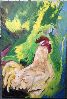 rooster painting by thetimmyvalentine on Etsy, $256.00