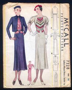 McCall 7328   ca. 1933 Ladies' & Misses' Dress and Jacket