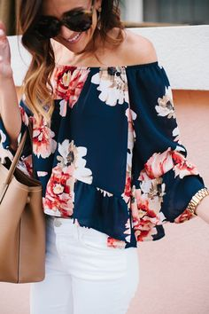 floral off the shoulder top, off the shoulder top, spring style, summer style, white denim, j brand white denim skinny jeans, skinny jeans, prada medium east west tote, stuart weitzman wedge sandals, kendra scott earrings, kendra scott carey earrings, prada handbag,