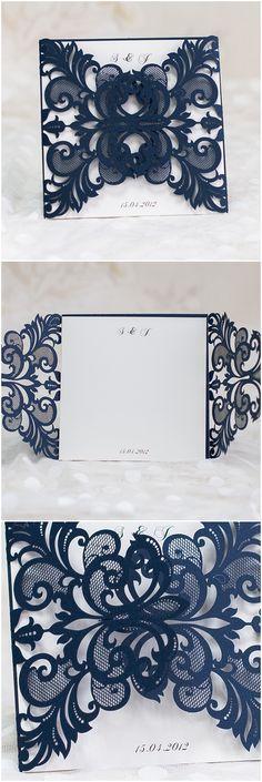 Elegant Navy Blue Laser Cut Wedding Invitations