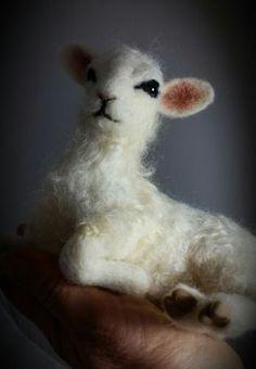 OOAK Needle Felted Realistic White Lamb Sheep by Tatiana Trot