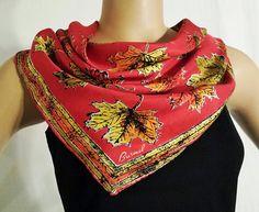 Burmel scarf red orange green yellow leaves leaf TeamVintageUSA KISV