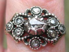 Georgian Rose Cut Diamond Ring, French. I love rose cut!