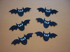 Chauve-souris en papier scrap noire et blanche en vole, vendus par lot de 6. : Stickers, autocollants par laboiteabijouxnanny