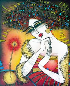 """The lady with the flower"" - painting by Albena Vatcheva"